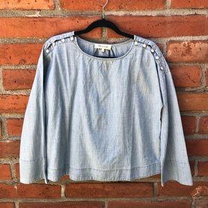 Convertible cold-shoulder top in indigo